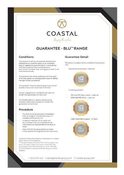 Coastal BLU™ Hardware Guarantee