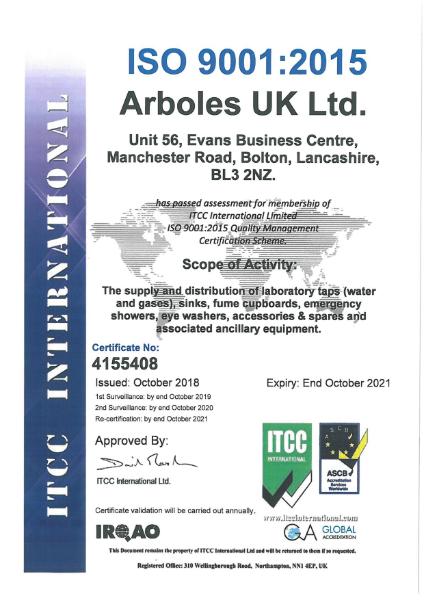 Arboles UK ISO 9001 Certificate 2021