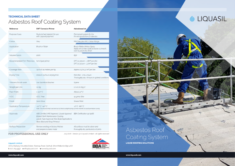 Asbestos Roof Coating System - BBA Approved Asbestoseal