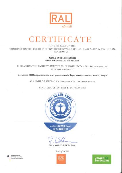 Blue Angel certificate norament 926