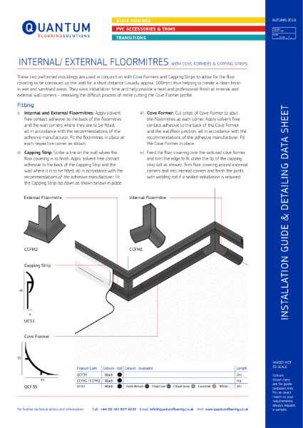 Installation Guide & Detailing Data Sheet for the Floormitre Capping Strip and Cove Former System
