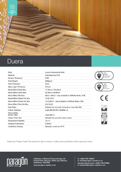 Paragon Carpet Tiles - Duera - Specification Information