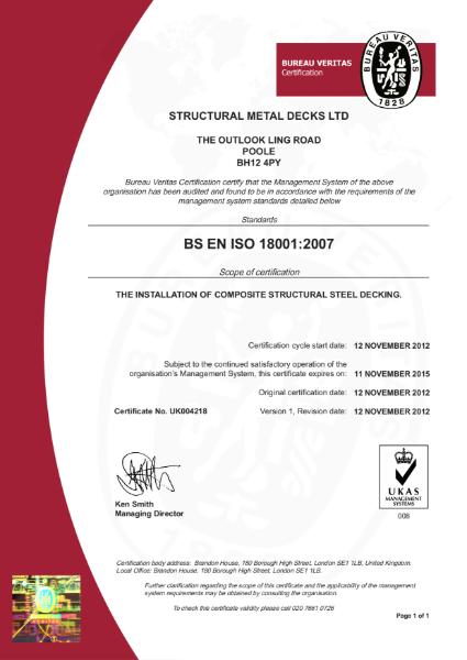 BS EN 18001: 2007 Certificate