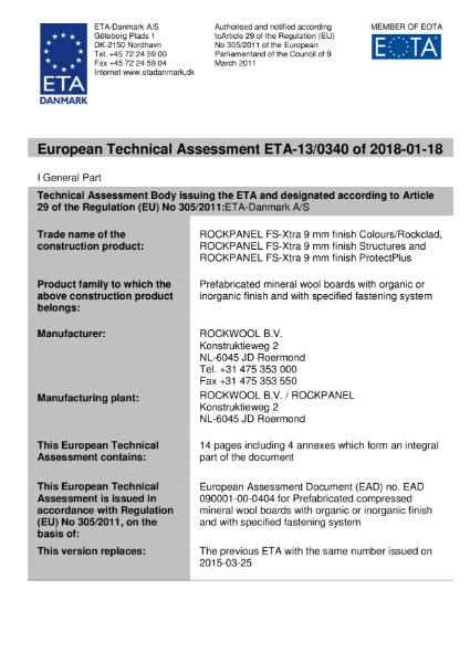 European Technical Assessment ETA-13/0340 Certificate