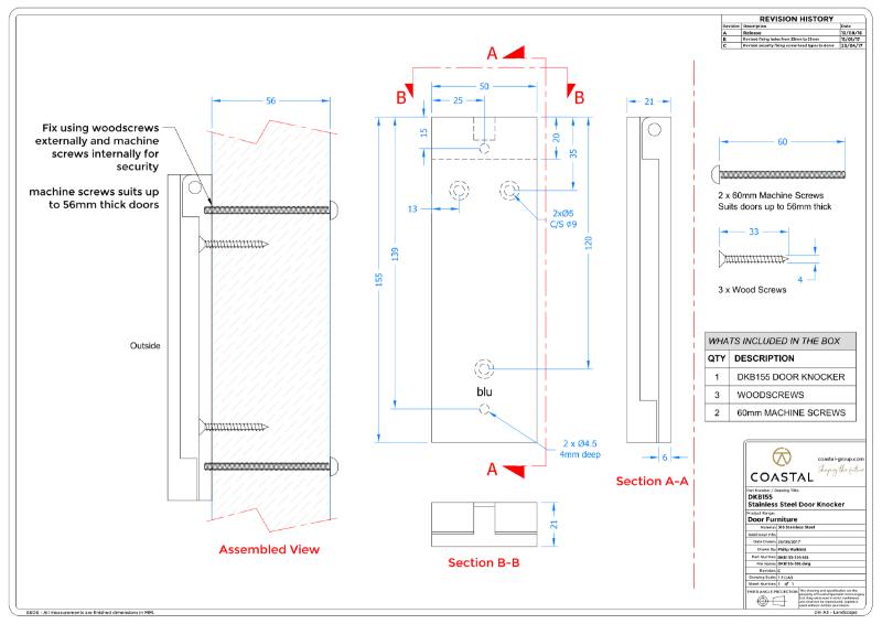 BLU™ - DKB155 Door Knocker CAD