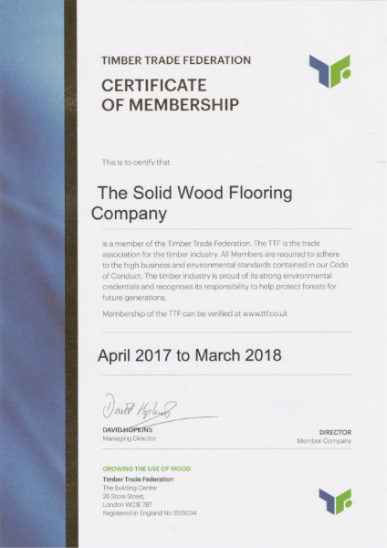 Timber Trade Federation Membership Certificate