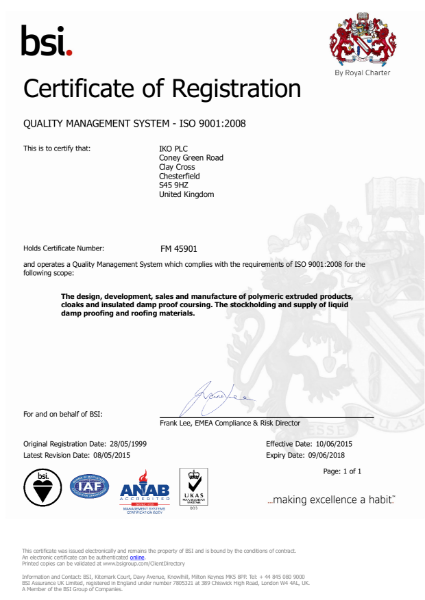 ISO 9001:2008 Certificate (Clay Cross)