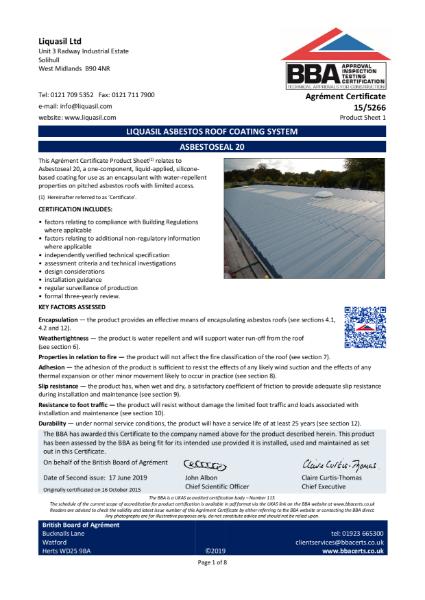ASBESTOSEAL 20, Liquasil Asbestos Roof Coating System, Product Sheet 1 - Certificate: 15/5266