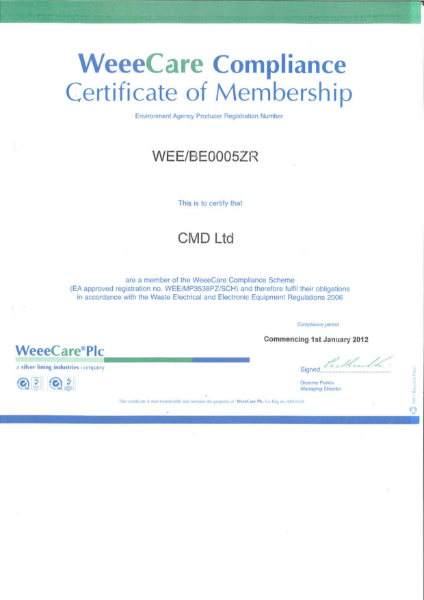 WeeeCare Compliance Certificate