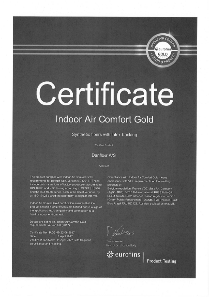 Euro Fins Gold assurance for Indoor Air Quality Certificate