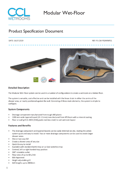 Modular Wet-Floor - Product Specification