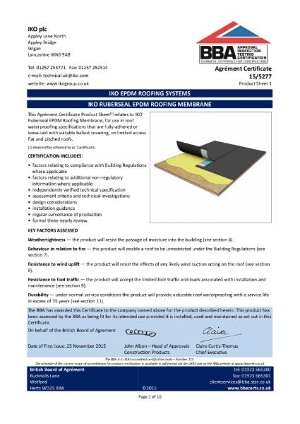 15/5277 IKO Ruberseal EPDM Roofing Membrane