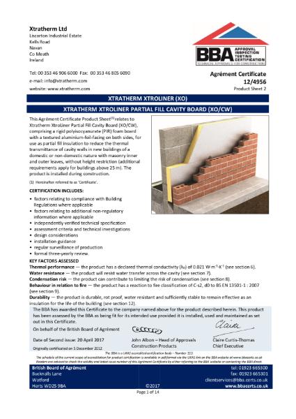 12/4956 Xtratherm Xtroliner Partial Fill Cavity Board (XO/CW) (Product Sheet 2)