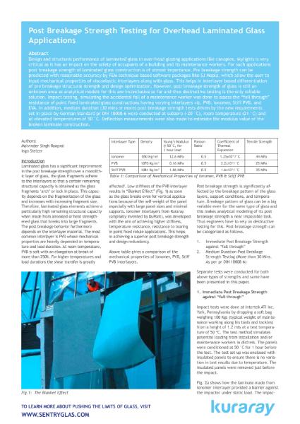Post Breakage Strength Testing for Overhead Laminated Glass.