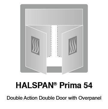 HALSPAN® Prima 54 mm Internal Fire Rated Door Blank - Double Acting Double Doors With Overpanel