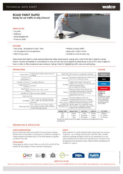 Data Sheet: Road Paint Rapid