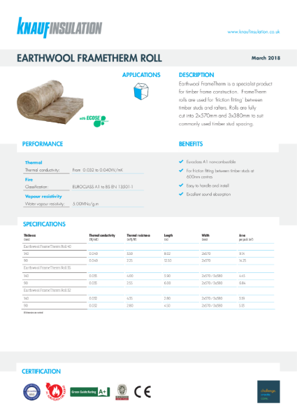 Knauf Insulation FrameTherm Rolls 32 Insulation Data Sheet