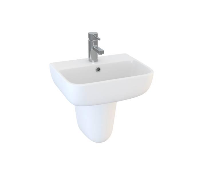 Designer Series 6 45 cm 1TH basin and semi pedestal