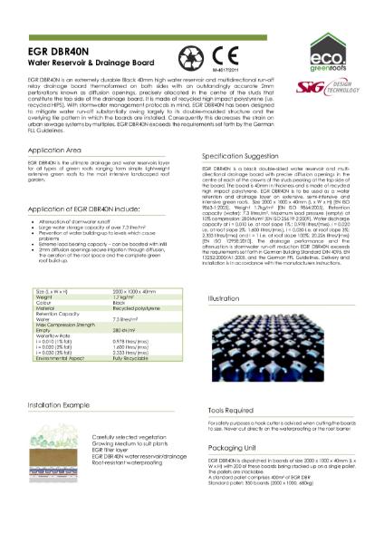 Eco Green Roofs DBR40N Datasheet