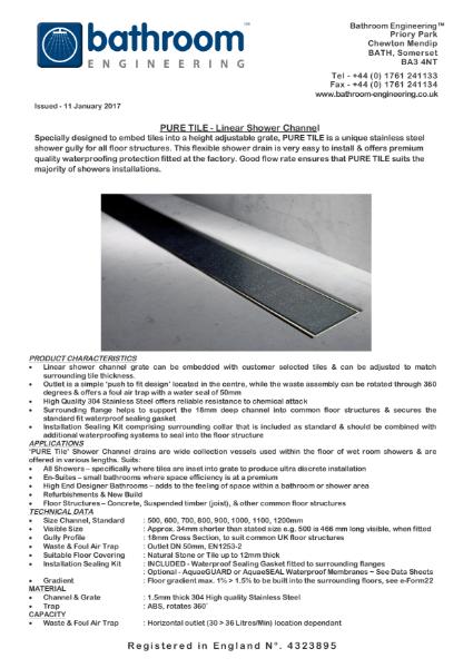 Linear Floor Drain - Pure Tile