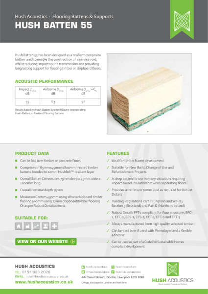 HUSH Batten 55 Resilient Flooring Battens