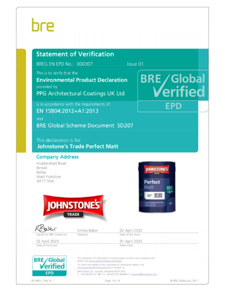 Environmental Product Declaration (EPD): BREG EN EPD No.: 000307