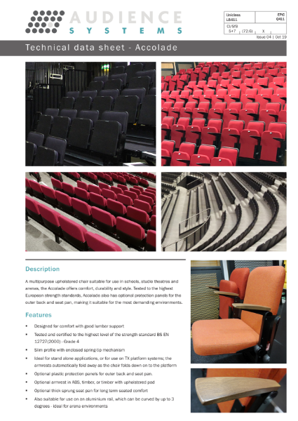 Accolade Chair: Suitable for retractable, removable, auditorium and theatre seating