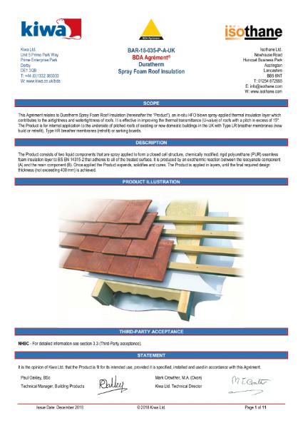 Duratherm roof insulation
