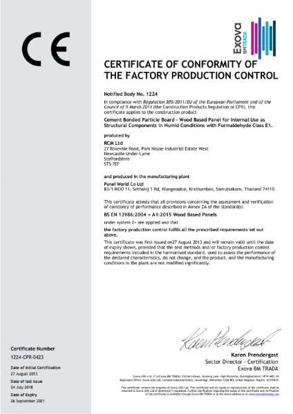 Cemboard Panel World Certificate of Conformity