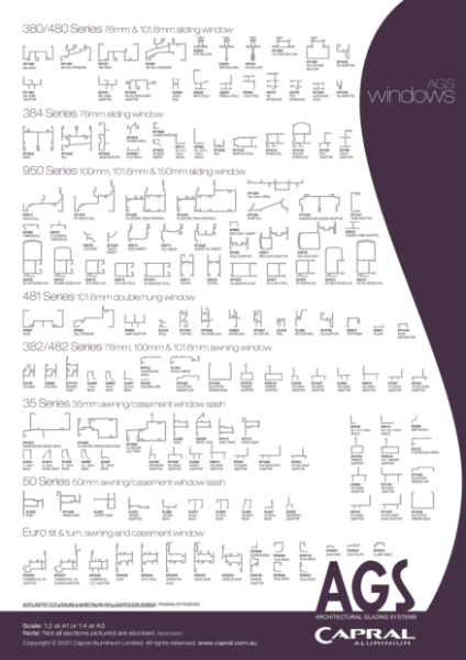 Extrusion wall chart AGS windows Capral 2102