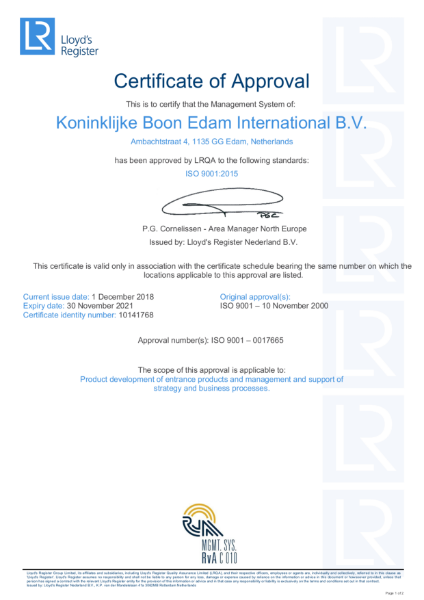 ISO 9001:2015 Certificate of Approval