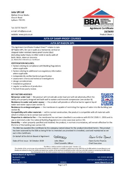 JUTA GP Radon DPC  19/5690 - Product Sheet 1
