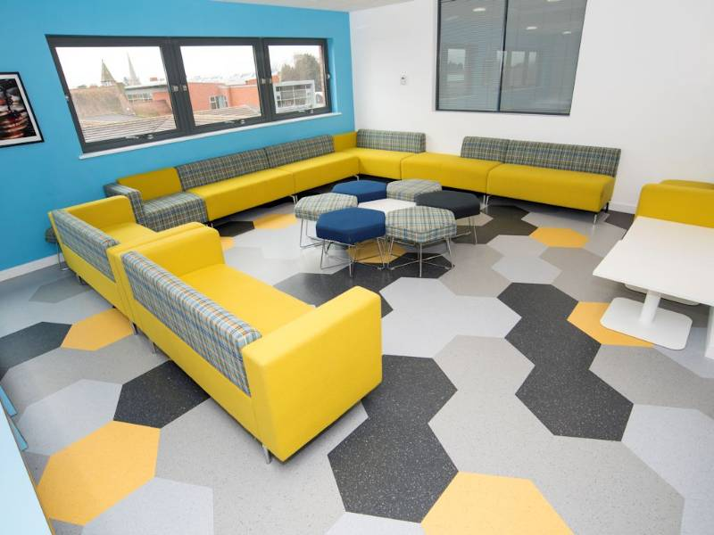 Polyflor helps create geometric floor design  for Solihull School sixth formers