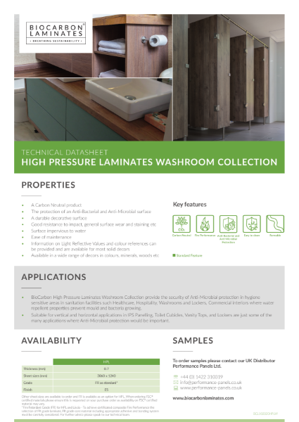 BioCarbon Laminates High Pressure Laminates (HPL) Washroom Collection datasheet