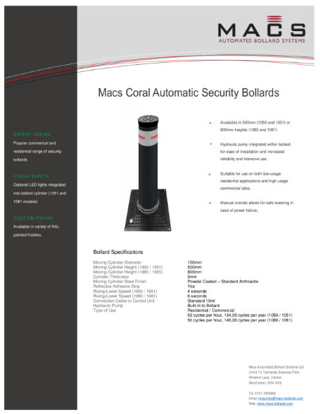 Macs Coral Automatic Bollard Data Sheet