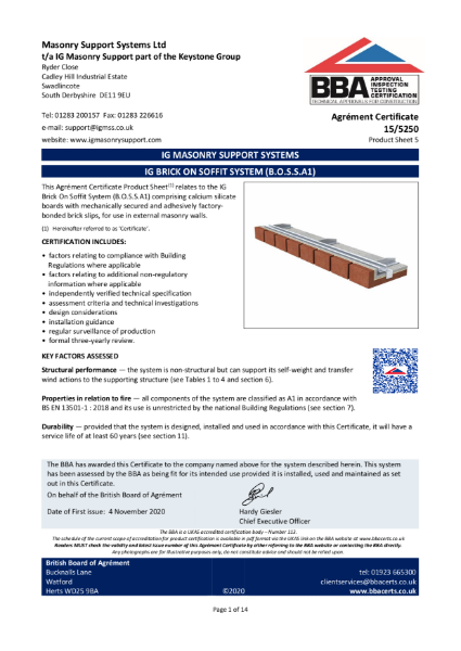 15/5250 IG BRICK ON SOFFIT SYSTEM (B.O.S.S.A1)