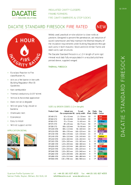 1 Hour Rated Fire Sock / Cavity Barrier (50 to 300mm Cavities) Data Sheet