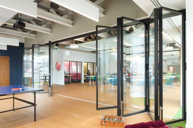 Komfort Flexiglaze Bottom Roller Sliding Glass Partition