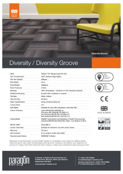 Paragon Carpet Tiles - Diversity Groove - Specification Information