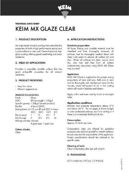 Keim MX Glaze Technical Data Sheet