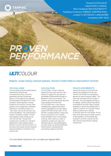 Ulticolour coloured asphalt footpath