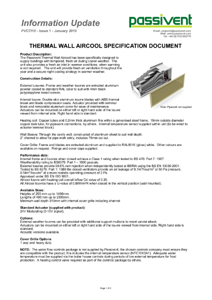 Passivent Specification Document -  Aircool Wall Ventilator - Thermal version