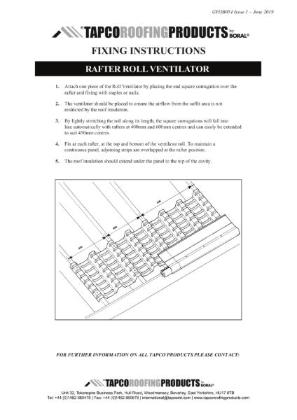 Tapco Rafter Roll Ventilator Fixing Guide