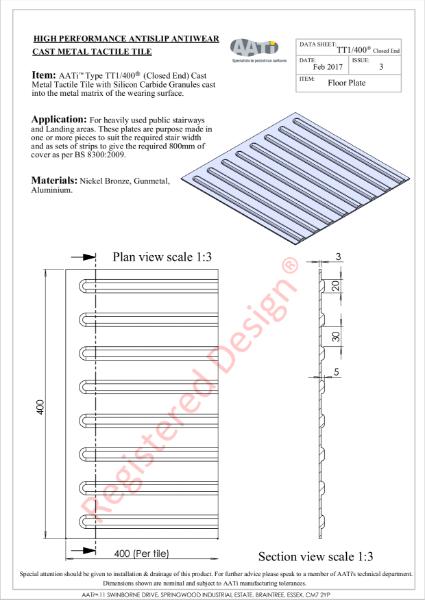 Corduroy Tactile Tile TT1/400® Cast metal