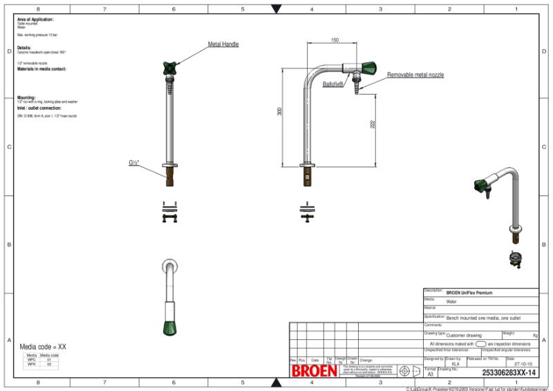 Table mounted laboratory single pillar water bib tap TDS
