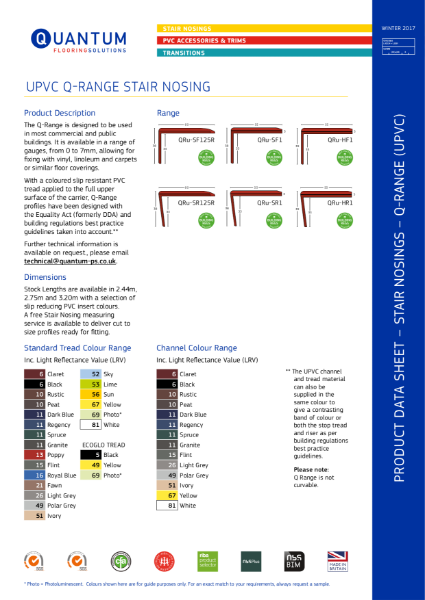 Q-Range PVC Stair Nosings - Stair Edging (0mm to 8mm Floorcovering) Product Data Sheet
