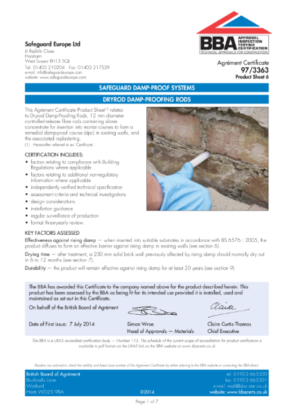 97/3363 Chemical damp-proof systems