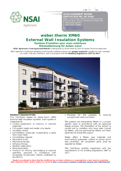 06/0260 weber.therm XM60 External Wall Insulation Systems NSAI Certificate