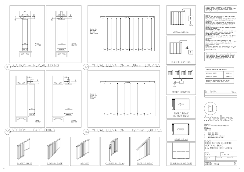 6000 Series Vertical Blind - Drawing Motorised