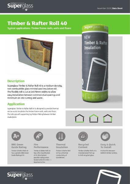 Superglass Timber & Rafter Roll 40 - Datasheet